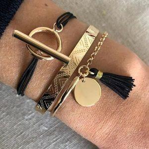 Boho Aztec 3-pc. Gold Black Tassel Bracelet Set!